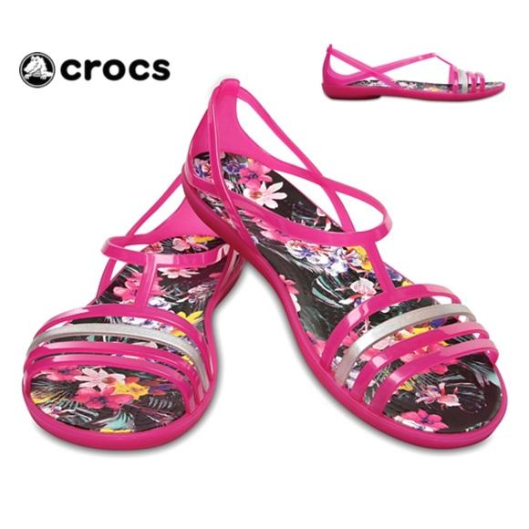9c8678e2f4f3 CROCS Women s Candy PINK Isabella GRAPHIC Sandals